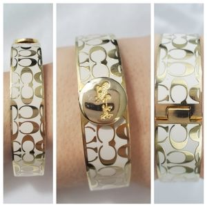 Coach Women's Gold and White Bangle Bracelet